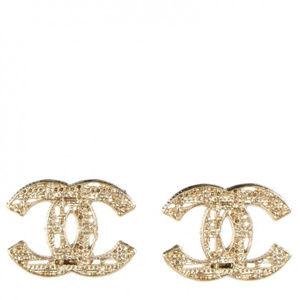 Chanel CC Tweed Earrings, Gold.